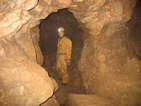 Inside the 20th century fluorspar mine.
