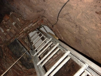 Looking up the temporary ladder in Tom's Shaft