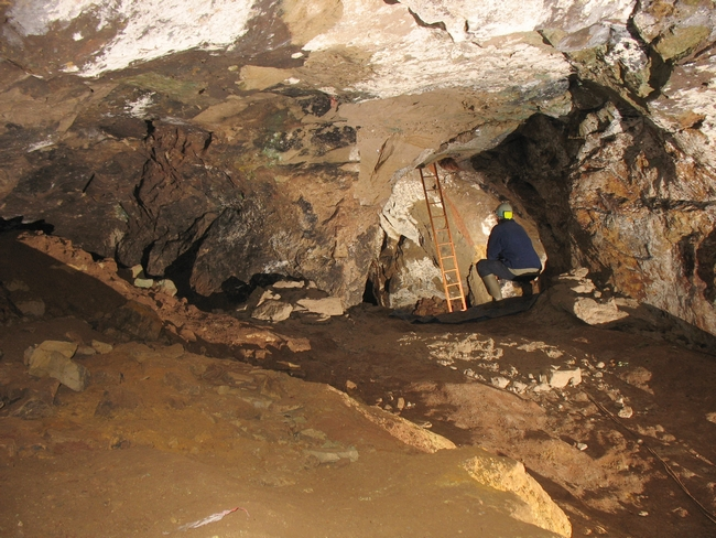 The archway into the chamber at the west end of the mine.  The ladders leads up to some passages close to the surface