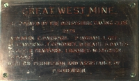 A plaque recognising the work by members in reopening West Mine