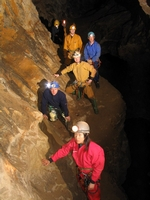 4. Crossing the traverse at Upper Springboard Cavern
