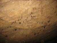Writing on a ceiling in the Great Shack.  The writing dates the working to the 1790s.