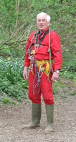 John kitted up to try some prusiking at the Engine Vein display tents