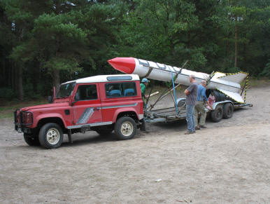 The rocket on its transporter